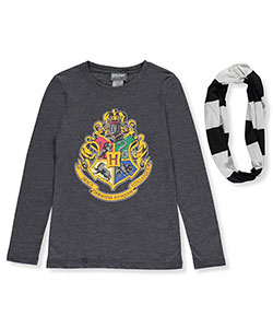 Harry Potter Big Girls' L/S T-Shirt with Striped Scarf (Sizes 7 – 16) - CookiesKids.com