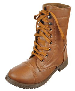"Blue Suede Shoes Girls ""Millie Faux Leather"" Combat Boots (Youth Sizes 11 – 4) - CookiesKids.com"