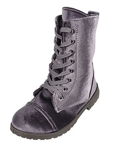 Blue Suede Shoes Girls' Velvet Combat Boots (Youth Sizes 13 – 4) - CookiesKids.com