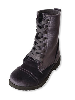 Blue Suede Shoes Girls' Velvet Combat Boots (Toddler Sizes 5 – 10) - CookiesKids.com