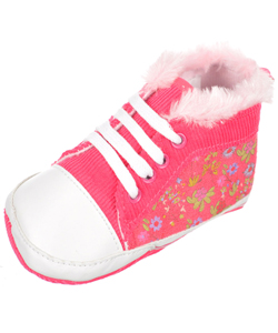 "Laura Ashley Baby Girls' ""Corduroy & Flowers"" Hi-Top Booties - CookiesKids.com"