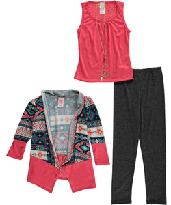 "Just Kids Little Girls' ""Tribal Vest"" 3-Piece Outfit with Necklace (Sizes 4 – 6X) - CookiesKids.com"