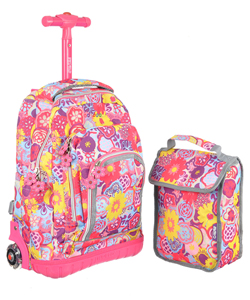 "J World ""Roll In"" Rolling Backpack with Lunchbox - CookiesKids.com"