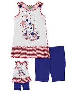 "Dollie & Me Little Girls' ""Patriotic Puppy"" 2-Piece Outfit with Doll Outfit (Sizes 4 – 6X) - CookiesKids.com"