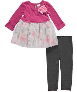 "Youngland Little Girls' Toddler ""Garden Rose"" 2-Piece Outfit (Sizes 2T – 4T) - CookiesKids.com"