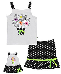 "Dollie & Me Big Girls' ""Neon Bouquet"" 2-Piece Outfit with Doll Outfit (Sizes 7 – 16) - CookiesKids.com"