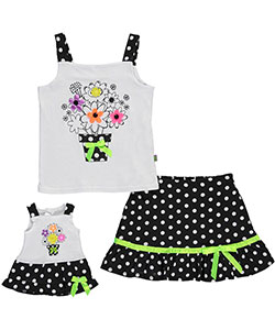 "Dollie & Me Little Girls' ""Neon Bouquet"" 2-Piece Outfit with Doll Outfit (Sizes 4 – 6X) - CookiesKids.com"