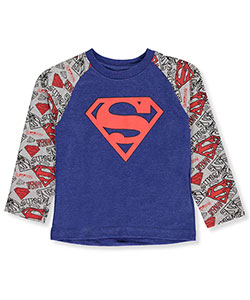 Superman Little Boys' Toddler L/S Raglan Shirt (Sizes 2T – 4T) - CookiesKids.com