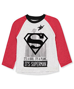 Superman Little Boys' L/S Raglan Shirt (Sizes 4 – 7) - CookiesKids.com