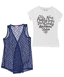 "Dream Star Little Girls' ""Cursive Heart"" 2-Piece Top (Sizes 4 – 6X) - CookiesKids.com"