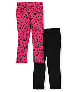 "Dream Star Little Girls' ""Multihearts"" 2-Pack Fleece-Lined Leggings (Sizes 4 – 6X) - CookiesKids.com"