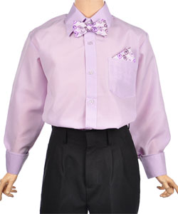 Vittorino Big Boys' Dress Shirt with Bowtie & Matching Pocket Square (Sizes 8 - 20) - CookiesKids.com