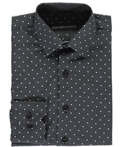 "Kids World Little Boys' ""Dots on Dots"" Dress Shirt (Sizes 4 – 7) - CookiesKids.com"