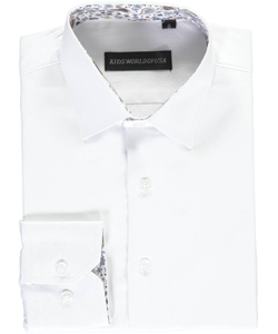 "Kids World Big Boys' ""Solid/Paisley Trim"" Dress Shirt (Sizes 8 – 20) - CookiesKids.com"