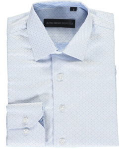 "Kids World Big Boys' ""Tonal Squares"" Dress Shirt (Sizes 8 – 20) - CookiesKids.com"