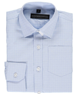 "Kids World Little Boys' ""Geometric Weave"" Dress Shirt (Sizes 4 – 7) - CookiesKids.com"