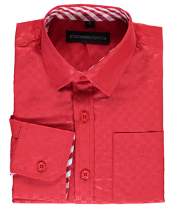 "Kids World Big Boys' ""Subtle Grid Check"" Dress Shirt (Sizes 8 – 20) - CookiesKids.com"