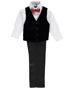 "Kids World Little Boys' Toddler ""Double-Bowed Velvet"" 4-Piece Vest Set (Sizes 2T – 4T) - CookiesKids.com"