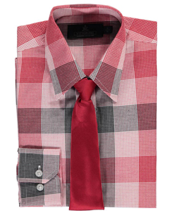 "Vittorino Big Boys' ""Plaidscape"" Dress Shirt with Tie (Sizes 8 – 20) - CookiesKids.com"