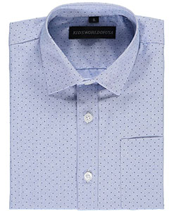 "Kids World Little Boys' ""Polka Dot Chambray"" Dress Shirt (Sizes 4 – 7) - CookiesKids.com"