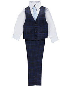 "Kids World Big Boys' ""Striped Campton"" 4-Piece Vest Set (Sizes 8 – 20) - CookiesKids.com"