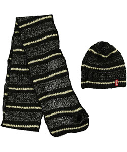 "Crush Girls ""Sparkling Stripe"" Beanie & Scarf Set (Youth One Size) - CookiesKids.com"