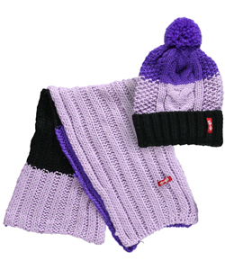 "Crush ""Tricolor Cable"" Beanie & Scarf Set (Youth One Size) - CookiesKids.com"