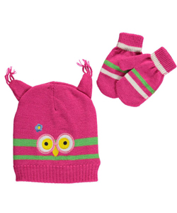 "Polar Wear Baby Girls' ""Winter Bird"" Beanie & Mittens Set - CookiesKids.com"