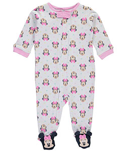 "Minnie Mouse Baby Girls' ""Minnie Face Medley"" Footed Coverall - CookiesKids.com"