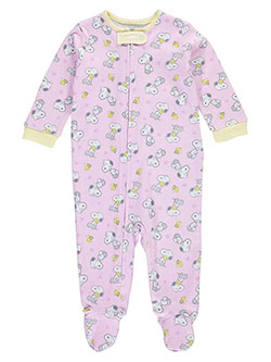 "Peanuts Baby Girls' ""Snoopy & Woodstock"" Footed Coverall - CookiesKids.com"