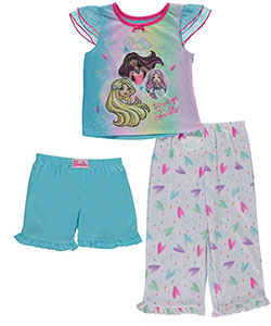 "Barbie Little Girls' Toddler ""Love to Sparkle"" 3-Piece Pajama Set (Sizes 2T – 4T) - CookiesKids.com"