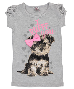 "Beautees Little Girls' ""I Ruff You"" T-Shirt (Sizes 4 – 6X) - CookiesKids.com"