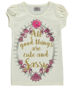 "Beautees Little Girls' ""Cute & Sassy"" T-Shirt (Sizes 4 – 6X) - CookiesKids.com"