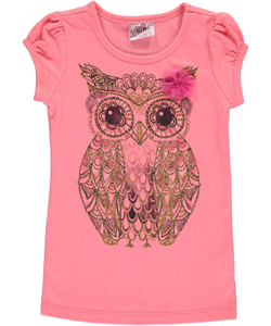 "Beautees Little Girls' ""Glitter Owl"" T-Shirt (Sizes 4 – 6X) - CookiesKids.com"