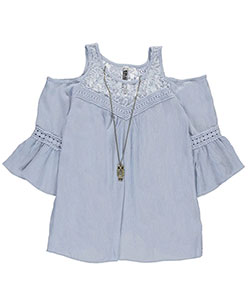 "Beautees Big Girls' ""Crinkle Cut"" Cold Shoulder Top with Necklace (Sizes 7 – 16) - CookiesKids.com"