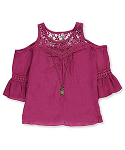 Beautees Big Girls' Cold Shoulder Top with Necklace (Sizes 7 – 16) - CookiesKids.com