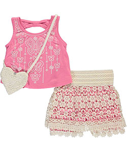 "Beautees Little Girls' ""Textured Butterflies"" 2-Piece Outfit with Purse (Sizes 4 – 6X) - CookiesKids.com"