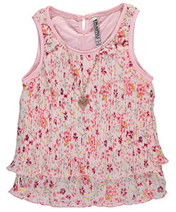 "Beautees Big Girls' ""Tiered Pleats"" Top with Necklace (Sizes 7 – 16) - CookiesKids.com"