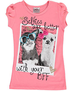 "Beautees Little Girls' ""Selfies Are Better"" T-Shirt (Sizes 4 – 6X) - CookiesKids.com"