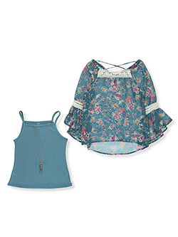 "Beautees Big Girls' ""Daisy Crochet"" 2-Piece Top with Necklace (Sizes 7 – 16) - CookiesKids.com"