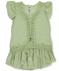 "Beautees Big Girls' ""Embroidered Frame"" Top with Necklace (Sizes 7 – 16) - CookiesKids.com"