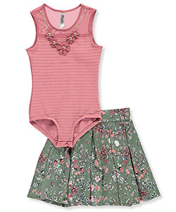 "Beautees Big Girls' ""Floral Elegance"" 2-Piece Outfit (Sizes 7 – 16) - CookiesKids.com"