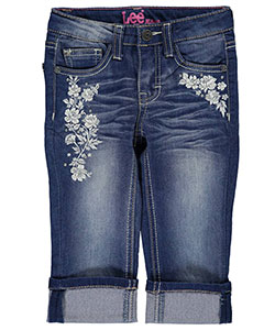 "Lee Little Girls' ""Bejeweled Floral Embroidery"" Cropped Jeans (Sizes 4 – 6X) - CookiesKids.com"