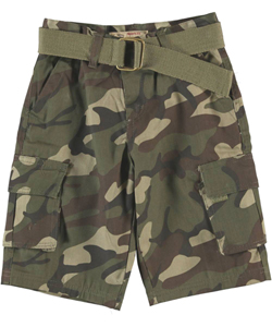 "LR Scoop ""Modern Fit Camo"" Belted Cargo Shorts (Sizes 8 – 18) - CookiesKids.com"