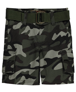 "LR Scoop Baby Boys' ""Grid"" Belted Cargo Shorts - CookiesKids.com"