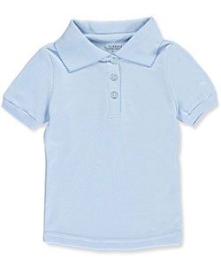"Classic School Uniform Little Girls' ""Flower Button"" S/S Knit Polo (Sizes 4 – 6X) - CookiesKids.com"