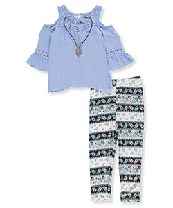 Pink Velvet Little Girls' 2-Piece Outfit with Necklace (Sizes 4 – 6X) - CookiesKids.com