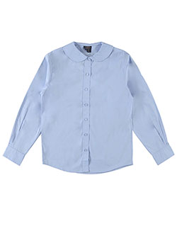 U.S. Polo Assn. Big Girls' L/S Peter Pan Blouse (Sizes 7 - 16) - CookiesKids.com