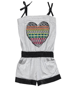 "Sugah & Honey Little Girls' ""Potpourri Patterned Heart"" Romper (Sizes 4 – 6X) - CookiesKids.com"