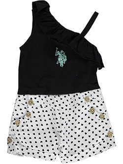 "U.S. Polo Assn. Little Girls' ""Hearts Ride Free"" Romper (Sizes 4 – 6X) - CookiesKids.com"